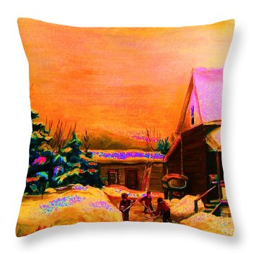 Playing Until The Sun Sets Throw Pillow by Carole Spandau