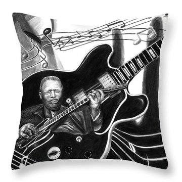 Playing With Lucille - Bb King Throw Pillow by Peter Piatt