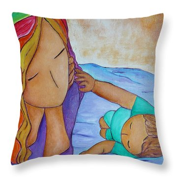Playing With Mommy's Rainbow Hair Throw Pillow by Gioia Albano