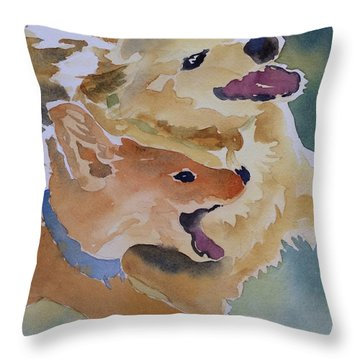 Playmates Throw Pillow by Barbara Tibbets