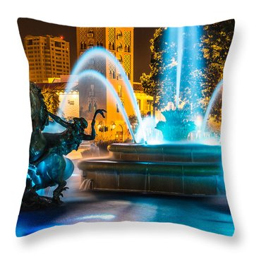 Plaza Blue Fountain Throw Pillow