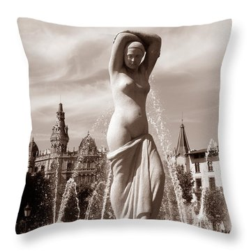 Plaza Cataluna Throw Pillow