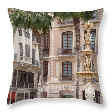 Plaza De La Constitucion - Malaga Throw Pillow