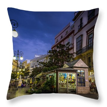 Plaza De Las Flores Cadiz Spain Throw Pillow