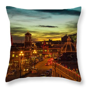 Plaza Lights At Sunset Throw Pillow by Steven Bateson