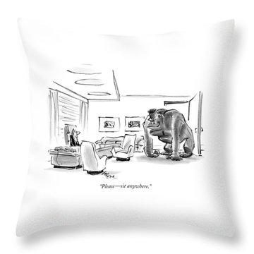 Please - Sit Anywhere Throw Pillow
