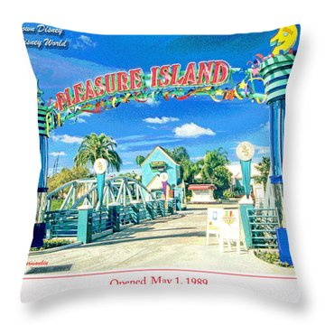 Pleasure Island Sign And Walkway Downtown Disney Throw Pillow