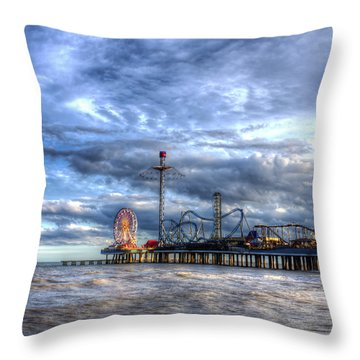 Pleasure Pier Galveston Throw Pillow
