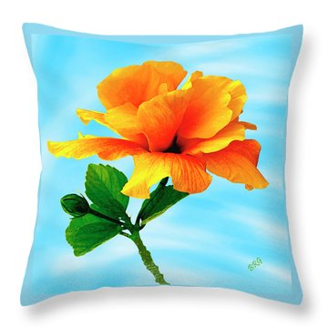 Pleasure - Yellow Double Hibiscus Throw Pillow by Ben and Raisa Gertsberg