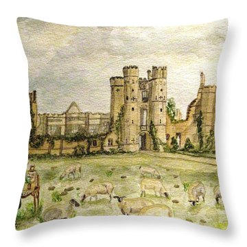 Plein Air Painting At Cowdray House Sussex Throw Pillow
