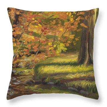 Plein Air - Trees And Stream Throw Pillow