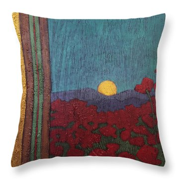 Plentiful Vista With Poppies Throw Pillow