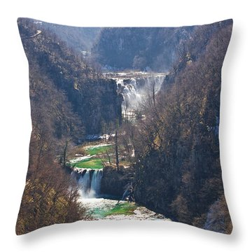 Plitvice Lakes National Park Canyon Throw Pillow by Brch Photography