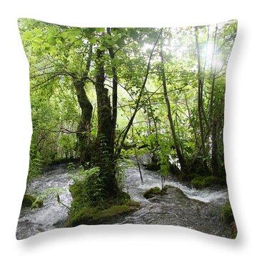 Plitvice Lakes Throw Pillow