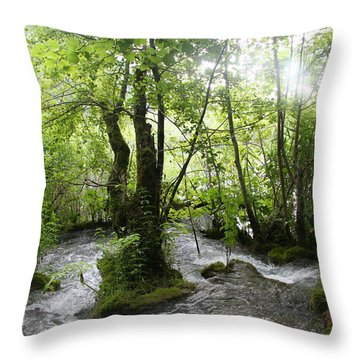 Plitvice Lakes Throw Pillow by Travel Pics