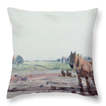 Plow Horses Throw Pillow