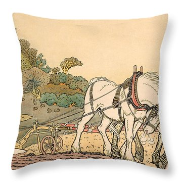 Plowing Throw Pillow