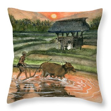 Plowing The Ricefield Throw Pillow