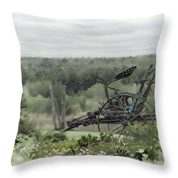 Plowing Through The Past Throw Pillow by Richard Bean