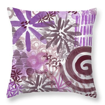 Plum And Grey Garden- Abstract Flower Painting Throw Pillow