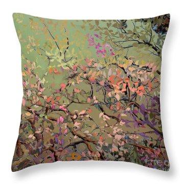 Plum Blossoms Throw Pillow