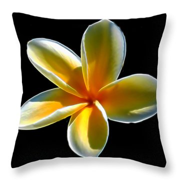 Plumeria Against Black Throw Pillow