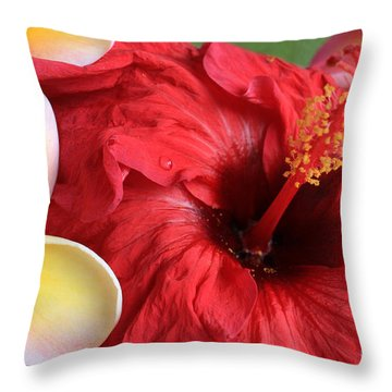 Plumeria And Hibiscus Throw Pillow