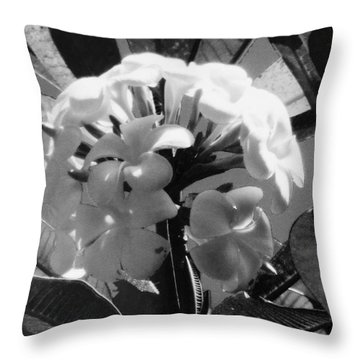 Throw Pillow featuring the photograph Plumeria- Black And White by Alohi Fujimoto