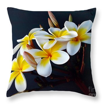 Plumeria Bouquet 2 Throw Pillow by Kaye Menner