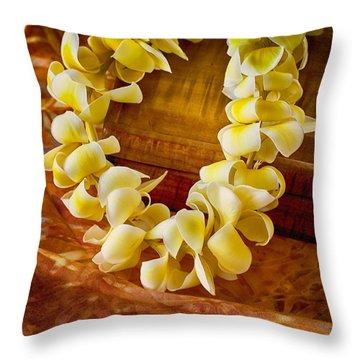 Plumeria Lei On Koa Box Throw Pillow