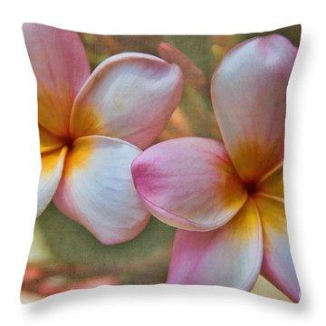 Plumeria Pair Throw Pillow by Peggy Hughes