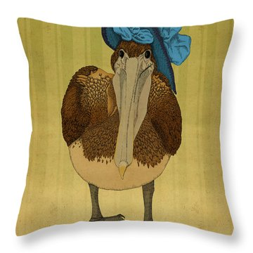 Throw Pillow featuring the drawing Plumpskin Ploshkin Pelican Jill by Meg Shearer
