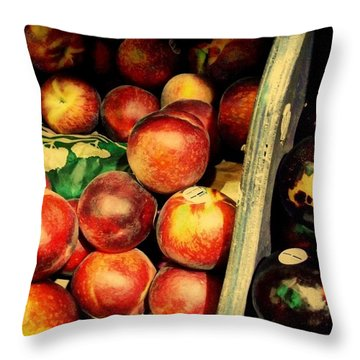 Throw Pillow featuring the photograph Plums And Nectarines by Miriam Danar