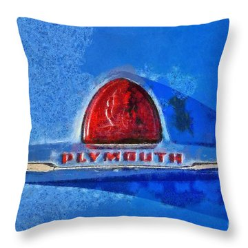 Plymouth Badge Throw Pillow by George Atsametakis