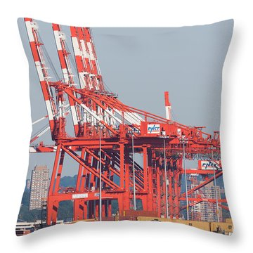 Pnct Facility In Port Newark-elizabeth Marine Terminal I Throw Pillow by Clarence Holmes