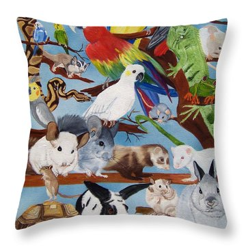 Pocket Pets Throw Pillow by Debbie LaFrance