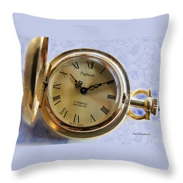Pocket Watch On Brocade Throw Pillow