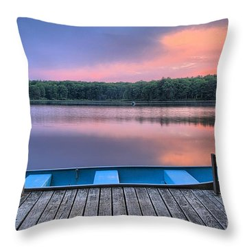 Poconos Lake Whitney Sunset Rowboat Throw Pillow