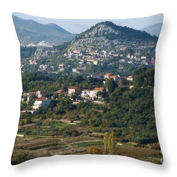 Throw Pillow featuring the photograph Podgrade - Cetina Valley - Croatia by Phil Banks