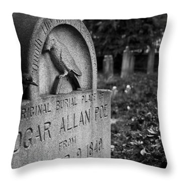 Poe's Original Grave Throw Pillow by Jennifer Ancker