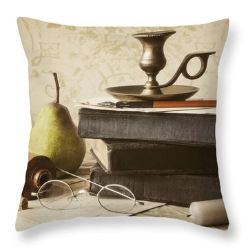 Poet's Corner Throw Pillow by Amy Weiss