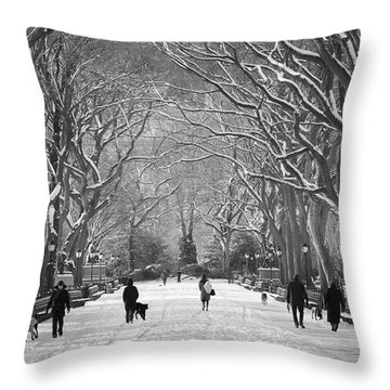 New York City - Poets Walk Winter Throw Pillow