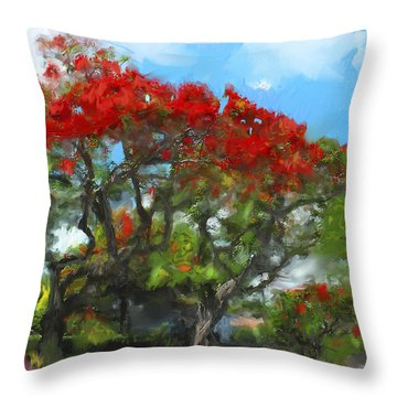 Throw Pillow featuring the painting Poinciana Trees Of Coral Gables by Ted Azriel