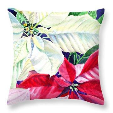 Poinsettia Christmas Collection Throw Pillow