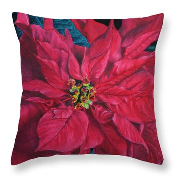 Poinsettia II Painting Throw Pillow