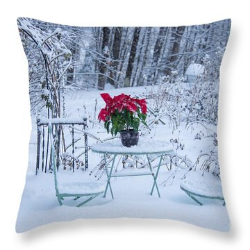 Poinsettia In The Snow Throw Pillow by Alana Ranney