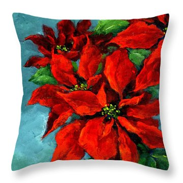 Poinsettia On Teal Throw Pillow