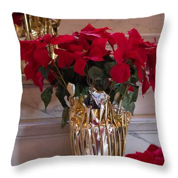 Poinsettias Throw Pillow by Patricia Babbitt