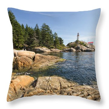 Throw Pillow featuring the photograph Point Atkinson Lighthouse In Vancouver Bc by JPLDesigns