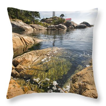 Throw Pillow featuring the photograph Point Atkinson Lighthouse In Vancouver Bc Vertical by JPLDesigns